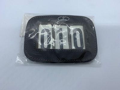 Hamag leather number holder for saddle pad Brown