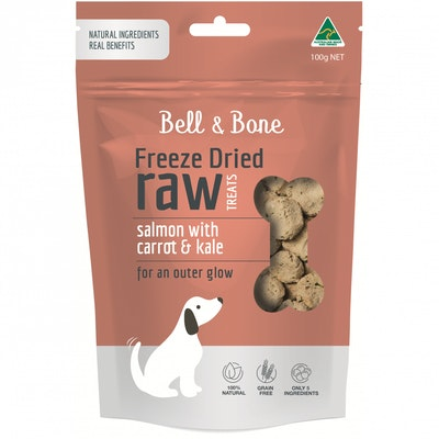 BELL & BONE Salmon With Carrot & Kale Freeze Dried Dog Treats 100G
