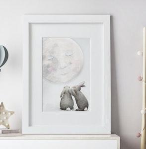 Moon Bunny Print - A4