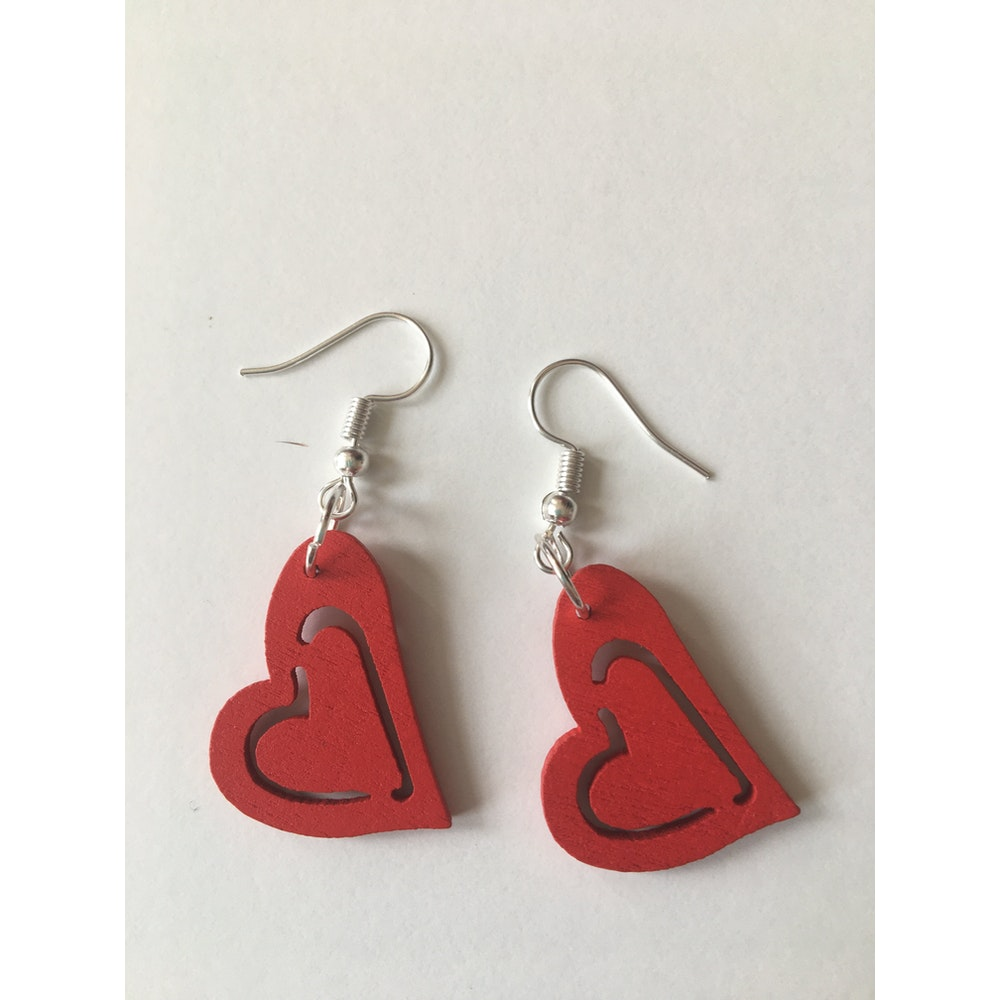 One of a Kind Club Red Heart Earrings