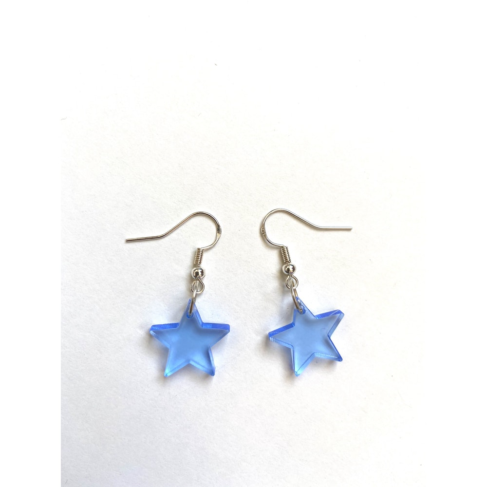 One of a Kind Club Blue Solid Star Acrylic Earrings