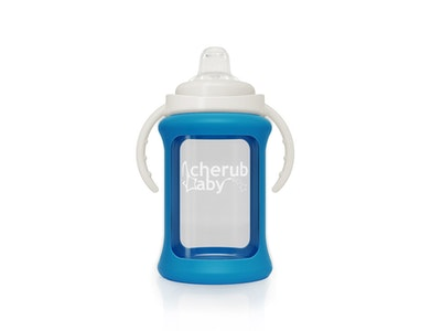 Wide Neck Glass Sippy Cup with Colour Change Sleeve 240ml - Blue