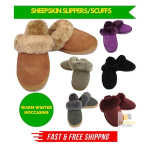 100% Sheepskin Moccasin Slippers Winter Genuine Scuffs Slip On Mens Womens New