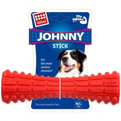 GIGWI Johnny Stick Treat and Dispenser- Red