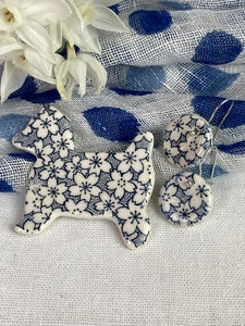 Blue and White Floral Print Westie Dog Brooch