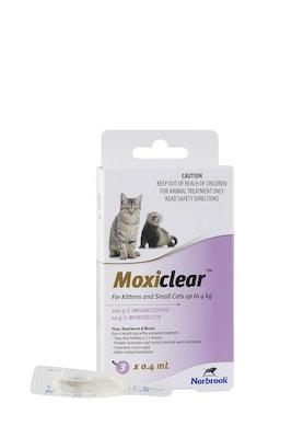 MOXICLEAR Flea & Worming Spot Treatment <4kg Kittens & Cats 3 Pack