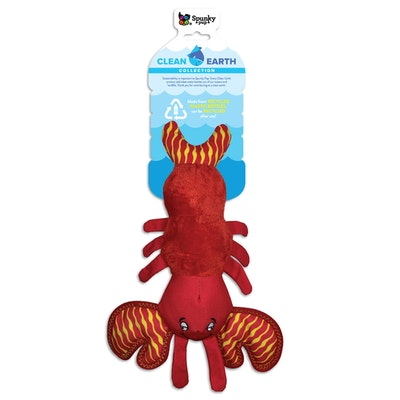 Spunky Pup Clean Earth Plush Lobster Dog Squeaker Toy - 2 Sizes