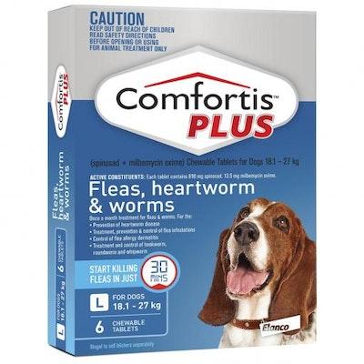 COMFORTIS PLUS Blue Flea & Worming Tablets 18.1-27kg Dog 6 Pack