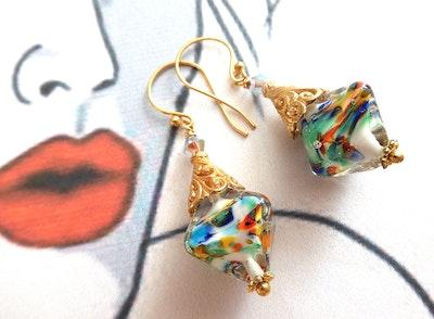 Beadoire Glass Lampwork Glass Earrings   'Kaleidescope' 2021