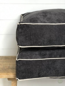 Floor Cushion Cover - Cruze Coal Corduroy with Chalk Linen Piping