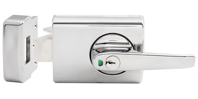 Lockwood 001 Double Cylinder Deadlatch with Lever for Timber Framed Doors Finished in Chrome Plate