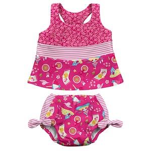 i play. Mix & Match 2pc Bow Tankini Set w/Built-in Reusable Absorbent Swim Diaper-Hot Pink Cabana