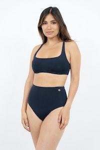 1 People Crete Cross Back Bikini Top in Dark Blue Pebble