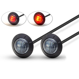 Pair of Round Flush Mount LED Tail Stop Light - Smoked lens