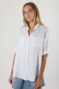 HUT - Boyfriend Linen Shirt - White