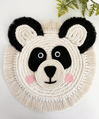 Sculptures of the Earth Macrame wall hanging - Panda bear