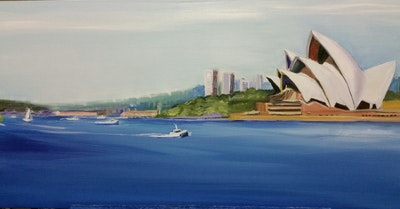 Virginia Bucknell Artworks Quality Print of Sydney Opera House and Habour