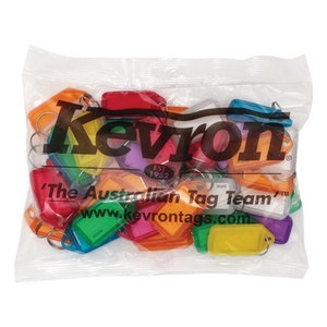 Kevron ID5 Easy Opening Plastic Key Tags – 50 Pack - Mixed