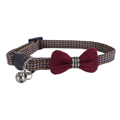 Rosewood Designer Cat Collar Dogtooth Bow or Blue Scrunchie