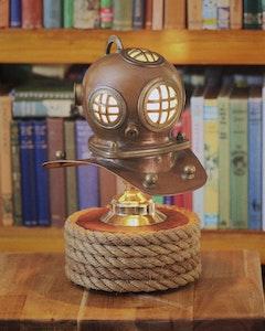 Nautical Lamp - Brass and Copper Scuba Diving Helmet