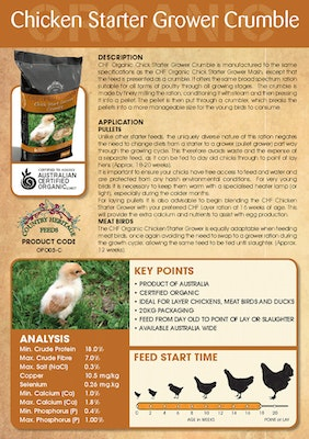 Country Heritage Chick Starter Grower Crumble Poultry Feed 20kg