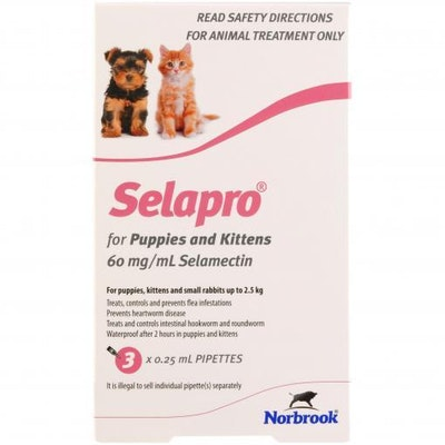SELAPRO Spot On Treatment <2.5kg Kitten & Puppy 3 Pack