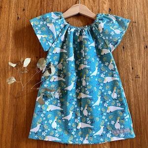 dress - turquoise cockatoos / organic cotton peasant-style dress / eco friendly / Australiana / girl toddler / size 1 2-3 4 5 years