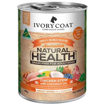 IVORY COAT Grain Free Wet Dog Food Chicken Coconut Stew 12x400g Cans