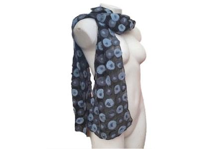 SparksJoi Fashionable Blue and Grey Concentric Circular Design Nuno Felt Silk Scarf
