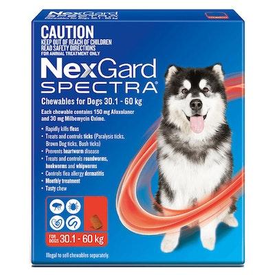 NexGard Spectra Dogs Chewables Tick & Flea Treatment 30.1-60kg - 2 Sizes