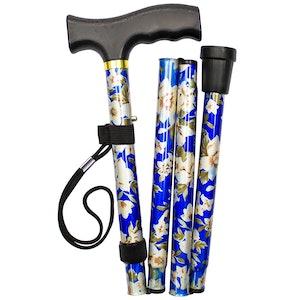 """Safe Home Care Adjustable Folding Metal Walking Stick Floral 33-37"""" Blue"""