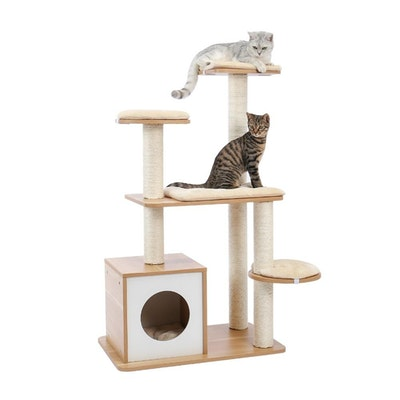 House of Pets Delight A Modern Wonderland Pet Cat Condo Tree With Scratcher XL