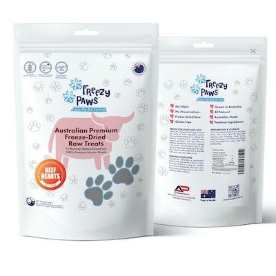Freezy Paws Premium Freeze-Dried Beef Hearts Raw Treats 100g