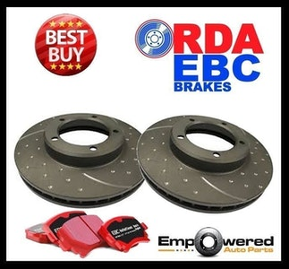 DIMPLED SLOTTED FRONT DISC BRAKE ROTORS+PADS Fits Lexus GS400 1998-2000 RDA748D