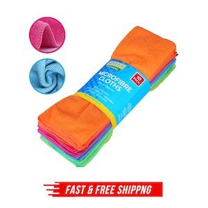 10pcs Microfibre Cloths Dish Car Towel Glass Cleaning Washable - 40*40cm