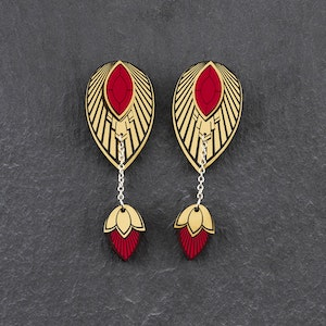 THE ATHENA I Ruby Red and Gold Stackable Earrings