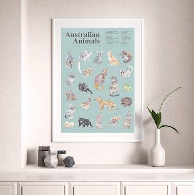 Watercolour by Cat Australian Animals A2 Art Poster
