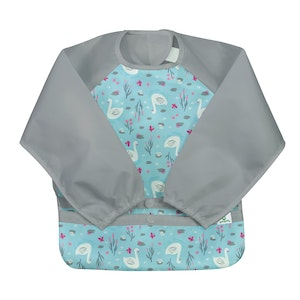 green sprouts Snap & Go Easy-wear Long Sleeve Bib-Aqua Swan-2T/4T