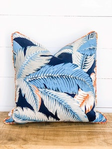 Outdoor Cushion Cover - Tropical palms with Multicolour Piping