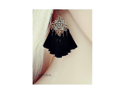 Glow Black Tassel Earrings