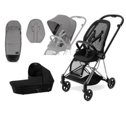 Cybex Mios Stroller Package. Includes Chassis, Colour Pack, Comfort Inlay, Footmuff, Black Carrycot. Chrome frame + Manhattan Grey