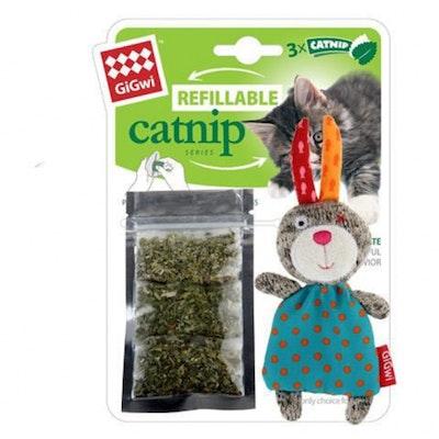 GIGWI Refillable Catnip Multi Teabag Rabbit Cat Toy