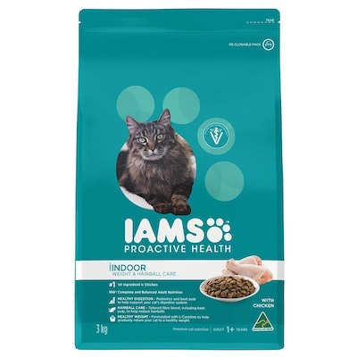 Iams Cat Adult 1+ Indoor Weight & Hairball Care with Chicken - 2 Sizes