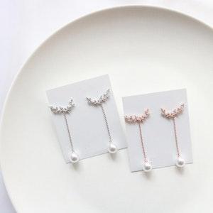 Line Pearl Drop Earrings (Handmade in Korea)