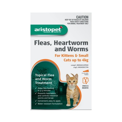 Aristopet Fleas, Heartworm & Worms For Kittens & Cats up to 4kg