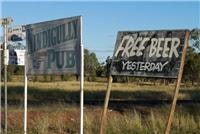 Just missed  out. Nindigully Qld, Pub sign.