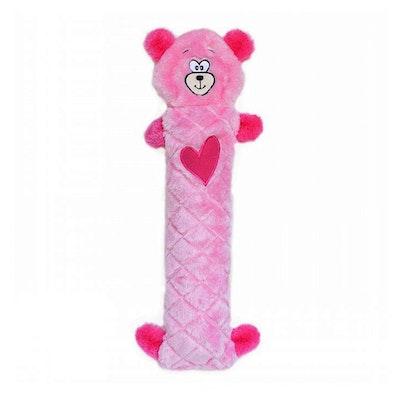 Zippy Paws Jigglerz Pink Bear Plush Dog Squeaker Toy 39 x 14cm
