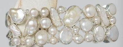 freeform baroque pearl sterling silver cuff bracelet
