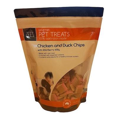 Zeez Gourmet Pet Treats Chicken & Duck Chips w/ Wild Berry 600g