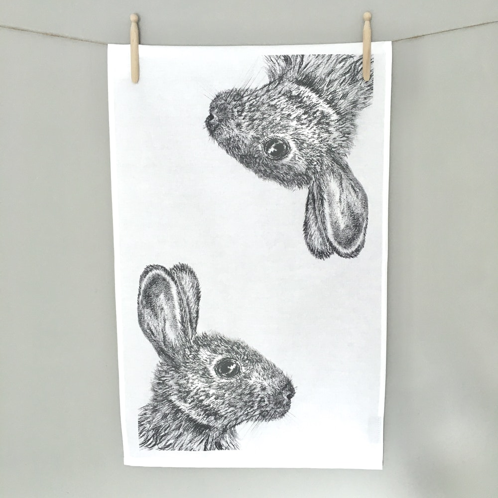 Bruce Bramfield Wild Rabbit Organic Cotton Tea Towel